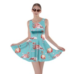Triangle Turquoise Flamingo V2 Skater Dress by CoolDesigns