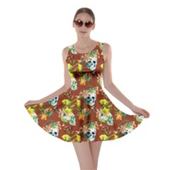 Brown Skull And Flowers Pattern Skater Dress by CoolDesigns