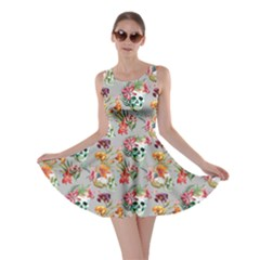 Light Gray Skull And Flowers Pattern Skater Dress