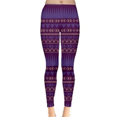 Purple2 Aztec Tribal Chevron Stripes Leggings by CoolDesigns