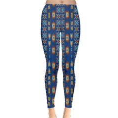 Blue Tribal Aztec Leggings by CoolDesigns