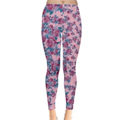 Blue & Pink Floral Leggings  by CoolDesigns