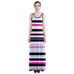 Hot Pink Stripes Sleeveless Maxi Dress by CoolDesigns