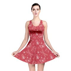 Red Insect Pattern Reversible Skater Dress