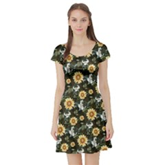 Daisy2 Vintage Floral Short Sleeve Dress