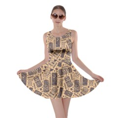 Brown Vintage Aloha Tiki Pattern For Your Business Skater Dress