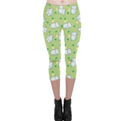 Green Happy Hippo With Friendly Bird Pattern Capri Leggings by CoolDesigns