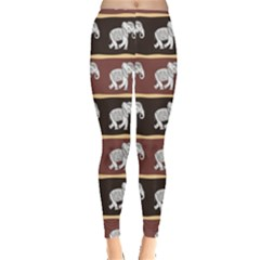 Dark Elephants Ethnic Pattern Leggings