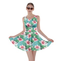 Turquoise Tropical White Hibiscus Flowers Green Leaves Skater Dress by CoolDesigns
