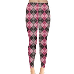 Colorful Argyle Pattern In Pink And Black Leggings by CoolDesigns