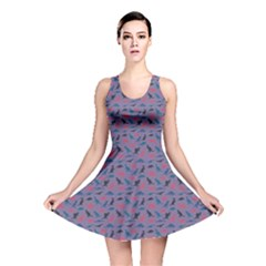 Blue Set Of Silhouettes Dinosaur Animal Retro Pattern Reversible Skater Dress by CoolDesigns