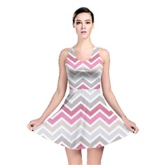 Pink Grunge Chevron Pattern Stylish Design Reversible Skater Dress by CoolDesigns