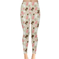 Colorful Easter Bunnies Eggs Pattern Flowers Leggings by CoolDesigns