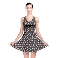 Black Halloween Ghost Pattern On A Dark Reversible Skater Dress by CoolDesigns