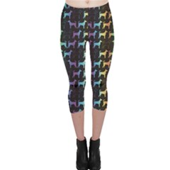 Colorful Bright Spectrum Pattern Of Dog Silhouettes On Black Capri Leggings