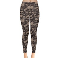 Black Grunge Pattern With Skulls Illustration Women s Leggings by CoolDesigns