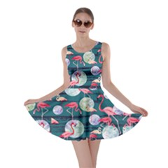 Dark Turquoise World Flamingo V2 Skater Dress