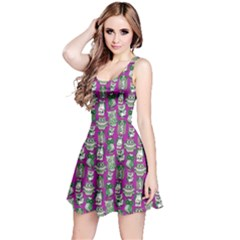 Purple Owl Pattern Sleeveless Skater Dress
