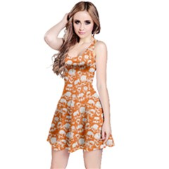Orange Grunge Skulls Pattern Sleeveless Skater Dress by CoolDesigns