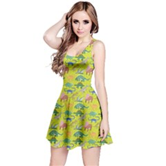 Neon Green Dinosaur Stylish Pattern Skater Dress by CoolDesigns