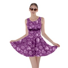 Purple Yummy Colorful Sweet Lollipop Candy Macaroon Cupcake Donut Seamless Skater Dress