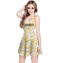 Yellow Pattern Doddle Kawaii Sleeveless Skater Dress by CoolDesigns