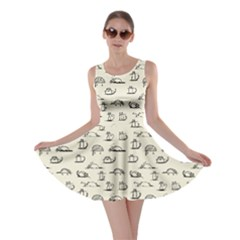 Beige Kitten Lovely Cats Pattern Skater Dress by CoolDesigns