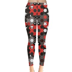 Red Pattern Retro Red Circles Polka Dot Women s Leggings by CoolDesigns
