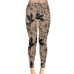 Nude Floral Pattern Birds Leggings by CoolDesigns