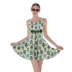 Green Robots Color Pattern Skater Dress