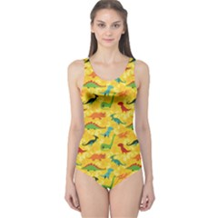 Yellow Cartoon Dinosaur Pattern Women s One Piece Swimsuit by CoolDesigns