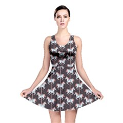 Black Carousel Horses Pattern Reversible Skater Dress