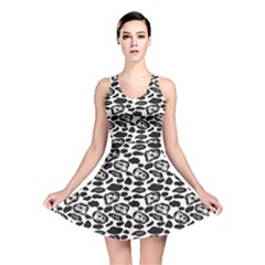 Black Pattern With Cartoon Cows Black And White Reversible Skater Dress by CoolDesigns
