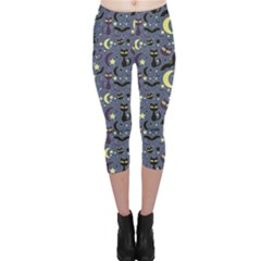 Blue Cute Pattern Night Life Cats And Bats Capri Leggings by CoolDesigns
