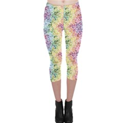 Colorful Pastel Rainbow Petals Capri Leggings by CoolDesigns