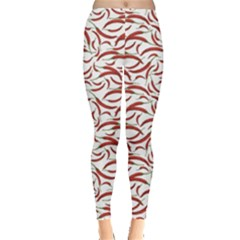 Red Vegetable Organic Food Red Chili Pepper Pattern Women s Leggings by CoolDesigns