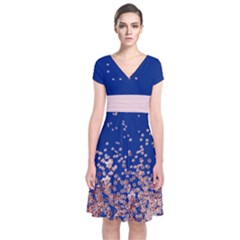 Blossom Blue Japanese Style Cherry Blossom Short Sleeve Front Wrap Dress by CoolDesigns