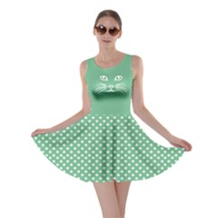 Green Cat Dot Skater Dress by CoolDesigns