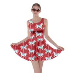 Red Carousel Horses Pattern Skater Dress  by CoolDesigns