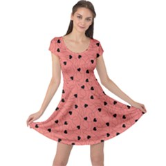 Coral Happy Valentines Pattern Cap Sleeve Dress