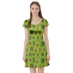 Neon Green Watercolor Beetles Short Sleeve Skater Dress by CoolDesigns