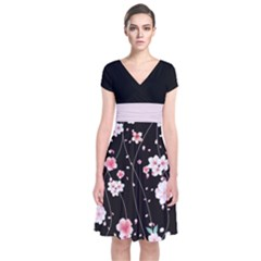 Dark Blossom 2 Japanese Style Cherry Blossom Short Sleeve Front Wrap Dress by CoolDesigns