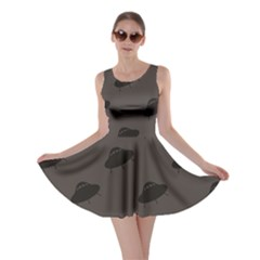 Black Ufo Web Flat Design Gray Pattern Skater Dress by CoolDesigns