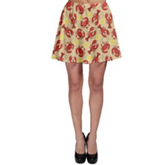 Red Lobster And Crab Lemon And Dill Pattern Skater Skirt by CoolDesigns
