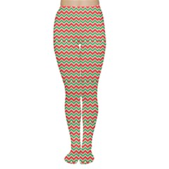 Red Repeating Chevron Zig Zag In Christmas Holiday Colors Tights by CoolDesigns