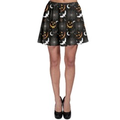 Black Halloween Horror Symbols Pattern Available Skater Skirt