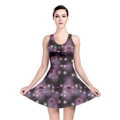 Purple Abstract Pattern Space With Stars Reversible Skater Dress