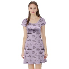 Purple Funny Cats Sketch Pattern For Your Design Short Sleeve Skater Dress by CoolDesigns