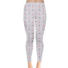 Gray Retro Pattern Polka Dot With Anchors Leggings