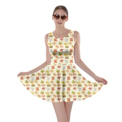 Yellow Pattern Of Basic Math Symbols Pattern Skater Dress